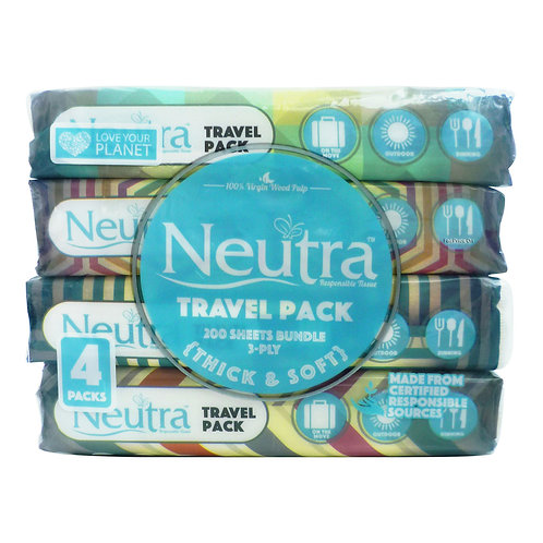 Neutra Travel Pack Tissues - Thick & Soft (3ply) 4 x 50 per pack