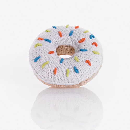 PebbleChild Donut rattle - white with multi sprinkles
