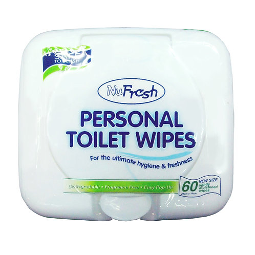 NuFresh Personal Toilet Wipes60 per pack