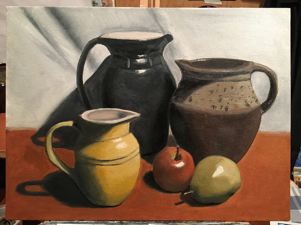Still life pitchers with fruit