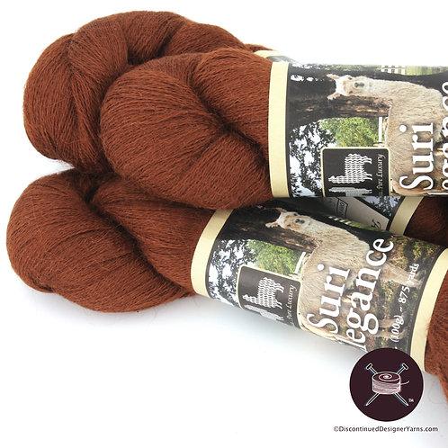 Suri alpaca laceweight yarn, bronze/rust color