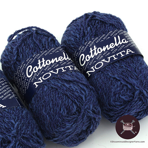 blue cotton blend knitting yarn
