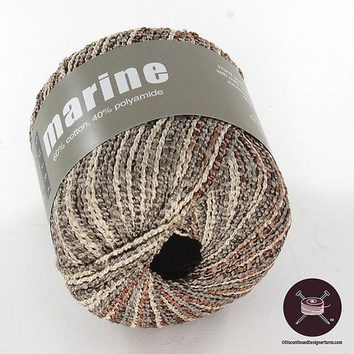 taupe, cream and grey cotton and nylong shiny yarn