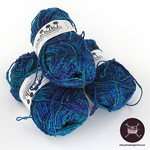 peacock blues and greens cotton textured yarn