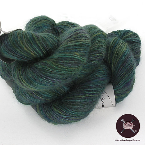 handspun mohair and wool single ply green blue blend yarn
