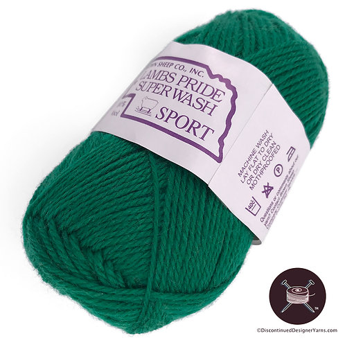 Emerald green wool sportweight superwash yarn