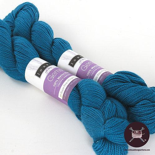 Caribbean blue merino fingering weight yarn