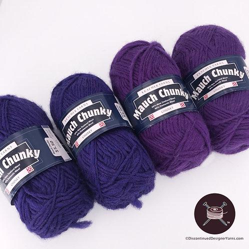 4 ball bundle of purple wool yarn, single ply, chunky