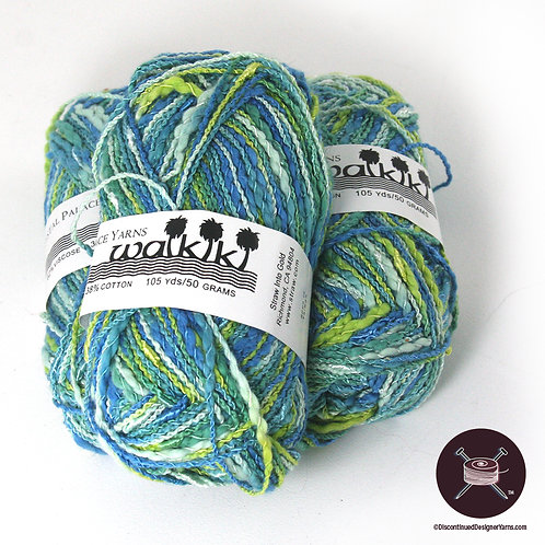 seafoam blues and greens textured rayon and cotton yarn