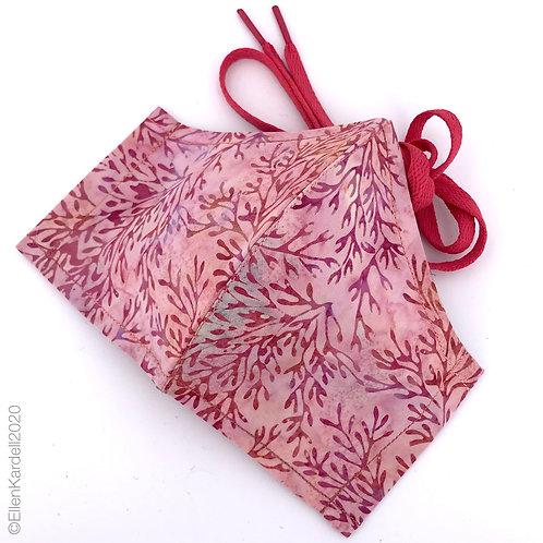Rose coral batik facemask, handmade in Missouri