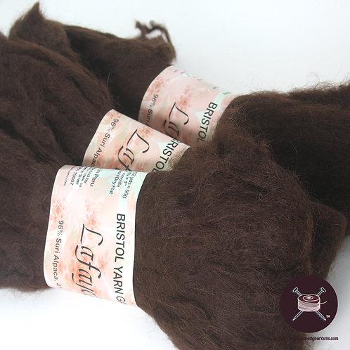 deep brown suri alpaca yarn