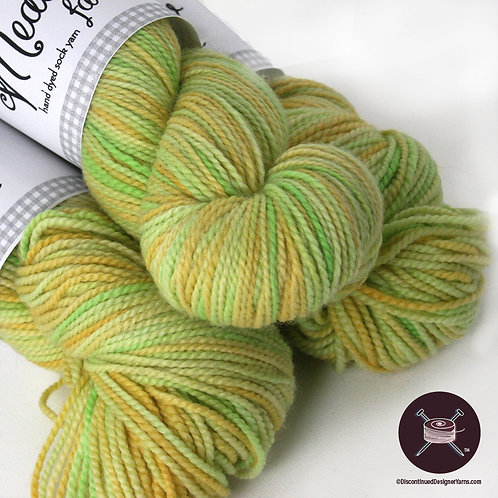 cornsilk gold and green fingering weight yarn