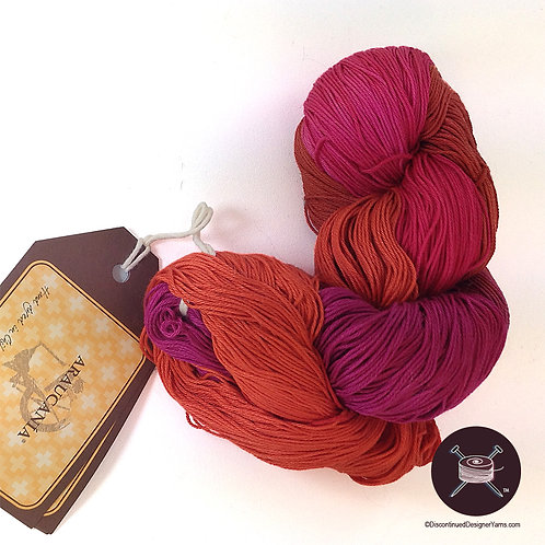 hot magenta, orchid and rust cotton yarn