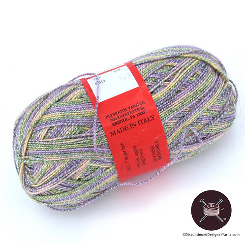 Periwinkle, green and light yellow cotton/wool blend sock yarn