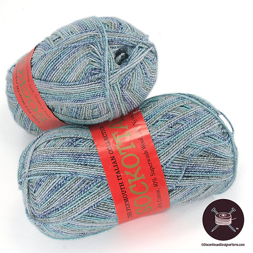 light to medium blues cotton and wool sock yarn