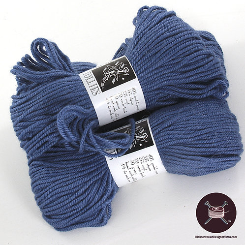 Classic Elite Follies yarn in steel blue-grey wool rayon blend