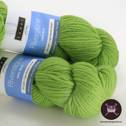 light lime green wool worsted weight yarn Louet Riverstone