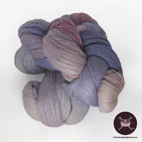 lavender laceweight handdyed yarn in baby alpaca