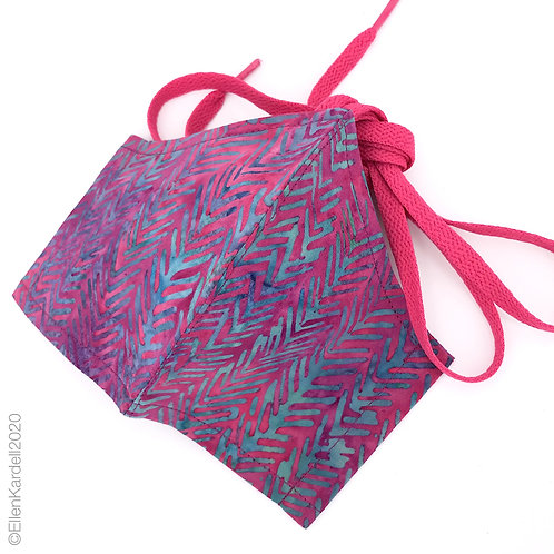 Herringbone Hots orchid and aqua cotton facemask, handmade batik fabrics