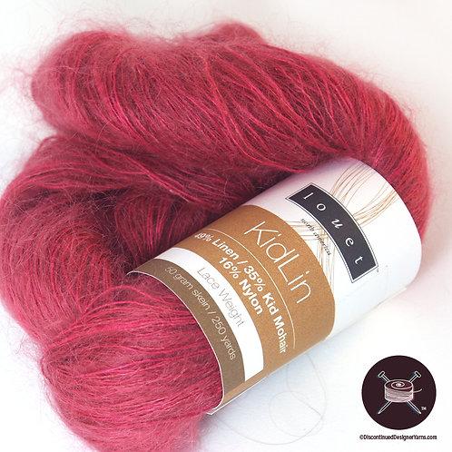cerise linen and mohair yarn
