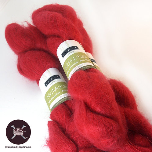 tomato red mohair laceweight yarn