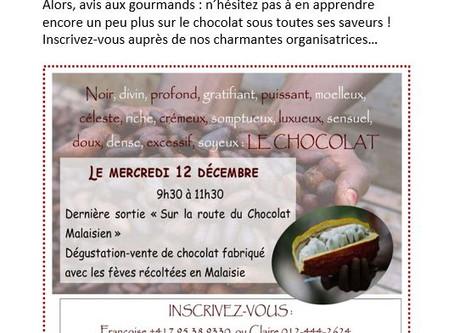 Route du chocolat: étape dégustation le  12 décembre