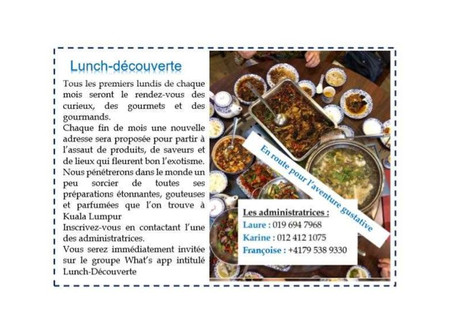 Nouvelle activité : lunch découverte