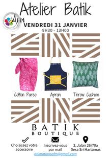 Atelier Batik le 31 janvier
