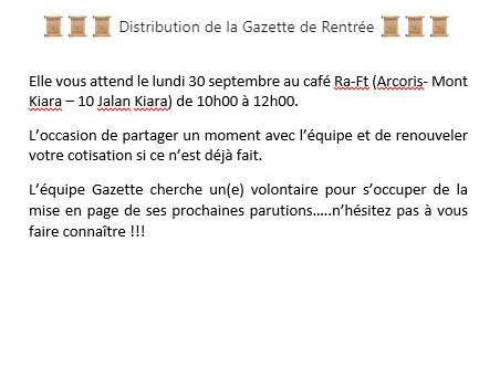 Distribution le 30 septembre au Ra-ft Café (Mt Kiara)