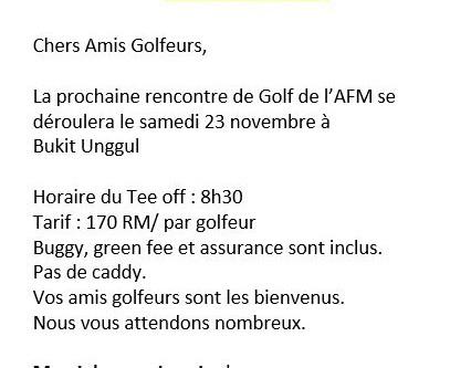 Golf le 23 novembre