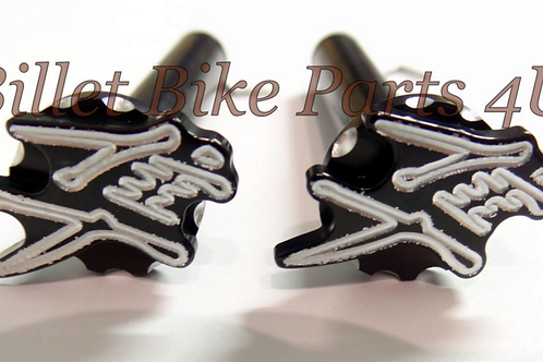 Chrome 3D Scallop Ball Cut Front Foot Peg Pins 2pc