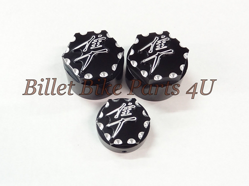 3D Black Scallop Cut Fork Cap Stem Nut Cap Combo
