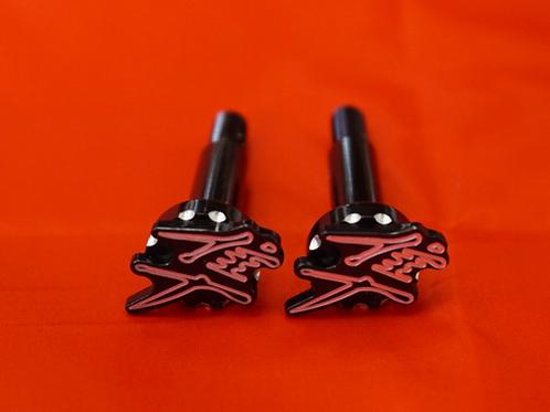 3D Black Scallop Diamond Contrast Cut Lever Bolts