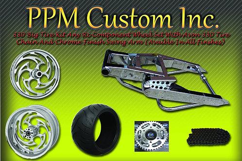 330 Wide Tire Kit Front & Rear Aftermarket Wheels