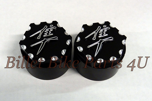 3D Black Scallop Cut Fork Cap Covers