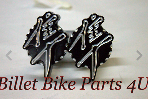 Fairing Badge 3D Black Scallop No Cut Frame Slider