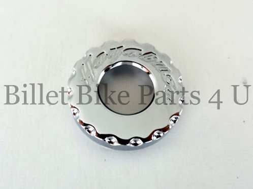 Chrome Scallop Engraved Tail Lock Cap Latch Cover