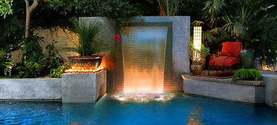 Waterfall, swimming pool for terrace garden