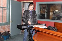 Denis recording some tracks.