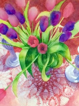 Pink, purple, tulips, lace