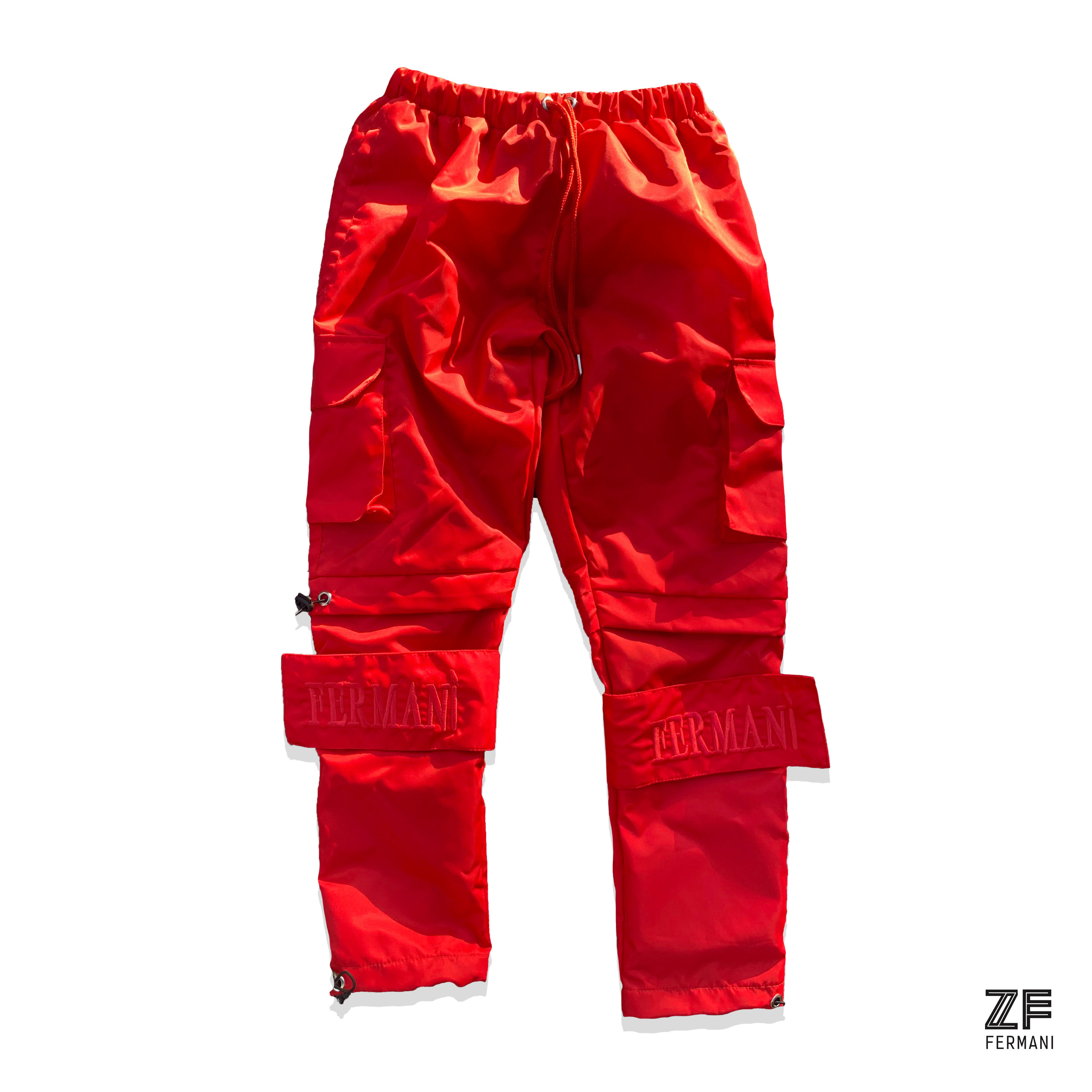 new lifestyle first rate new high Red Nylon Cargo Pants