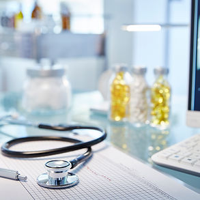 Stethoscope and medicine