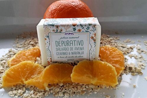 Jabón Depurativo salvado de avena, naranja , geranium