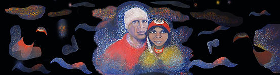 A portrait of Ruby Hunter and Archie Roach by Nina Vox