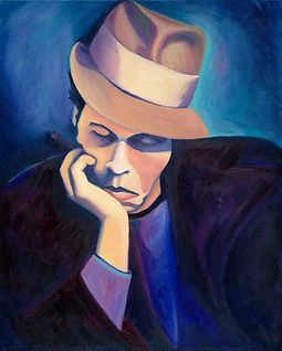 Portrait of Tom Waits oil on canvas. Original work by Nina Vox