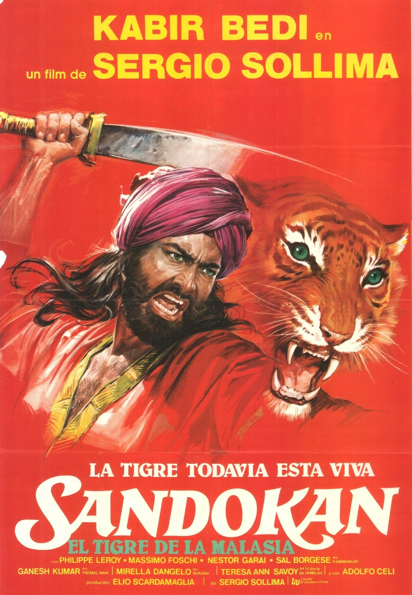 POSTER RED SANDOKAN & TIGER Painted