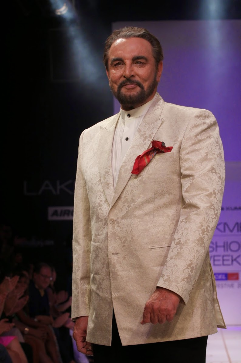 Kabir Bedi walks the ramp at Lakme fashion week for designer Narendra Kumar