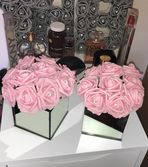 Mirror Vase Pink Roses Thbx Prosecco Shimmers Wax Melts