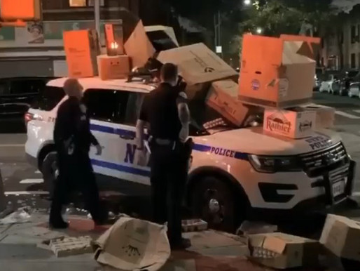 Crowd trashes cop car in Brooklyn on Halloween, shouts, 'trick or treat, motherf—rs!'