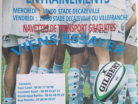 Entraînements Pôle Jeunes Rugby XV
